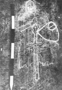 chalk outline of the Westford Knight, 1954