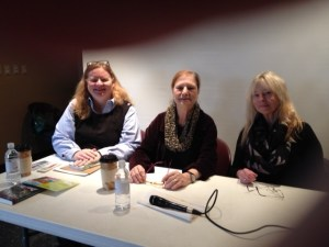 Barbara Ross, Dorothy Cannell, and Kate Flora at the Skidompha Library in Damariscotta, at the Chats with Champions series