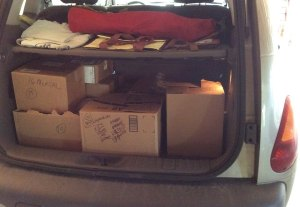 boxes in car