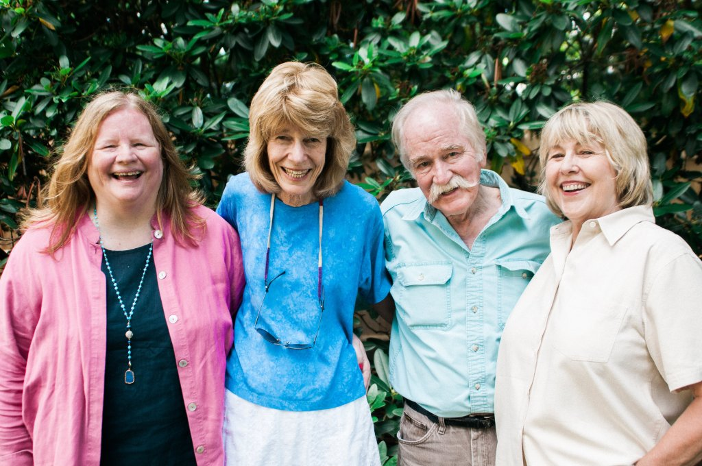 My writers group. From left Barb Ross, Leslie Wheeler, Mark Ammons, Kat Fast. Laughing, as we so often do. Leslie calls us the Car Talk of writers groups. Absent: Cheryl Marceau