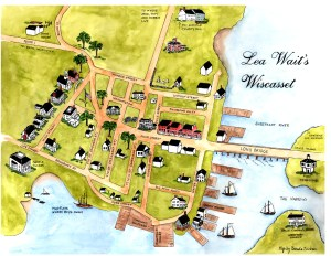 Map showing locations mentioned in Lea's books set in Wiscasset