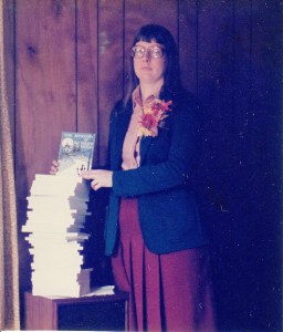 Kathy with her first stack of author copies
