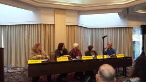 """A Crime Bake panel discussion called """"Creating Your Town, moderated by MCW blogmate Barb Ross."""